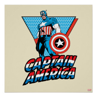 Captain America Retro Character Graphic Poster
