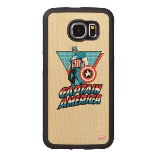 Captain America Retro Character Graphic Wood Phone Case
