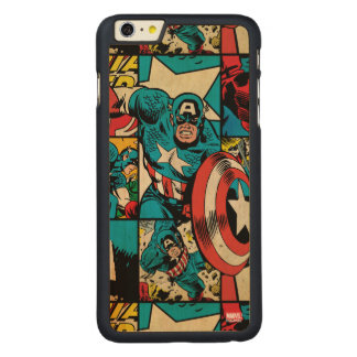 Captain America Retro Comic Book Pattern Carved Maple iPhone 6 Plus Case
