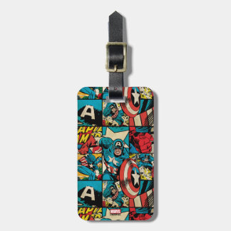 Captain America Retro Comic Book Pattern Luggage Tag