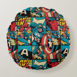 Captain America Retro Comic Book Pattern Round Cushion