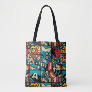 Captain America Retro Comic Book Pattern Tote Bag