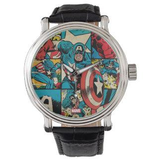 Captain America Retro Comic Book Pattern Watch
