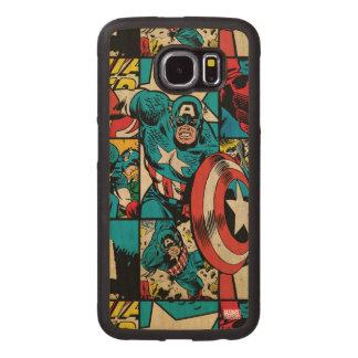 Captain America Retro Comic Book Pattern Wood Phone Case