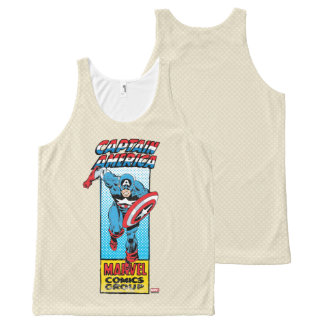 Captain America Retro Comic Character All-Over Print Singlet