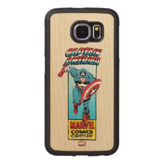 Captain America Retro Comic Character Wood Phone Case