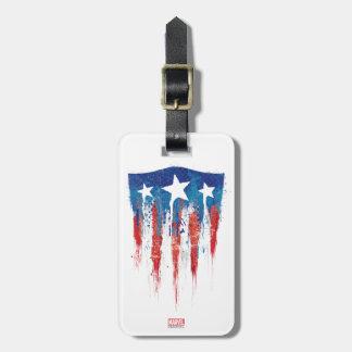 Captain America Retro Shield Paint Brush Strokes Luggage Tag