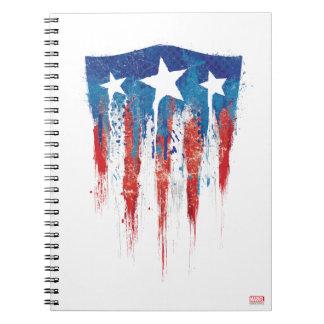Captain America Retro Shield Paint Brush Strokes Spiral Notebook