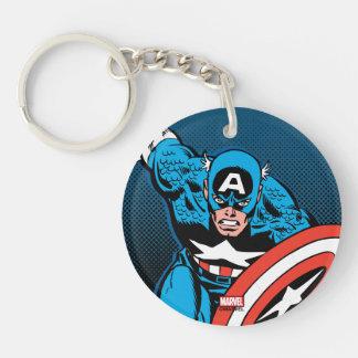Captain America Run Double-Sided Round Acrylic Key Ring