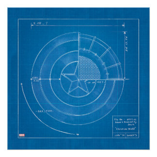 Captain America Shield Blueprint Poster