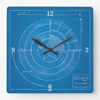 Captain America Shield Blueprint Square Wall Clock