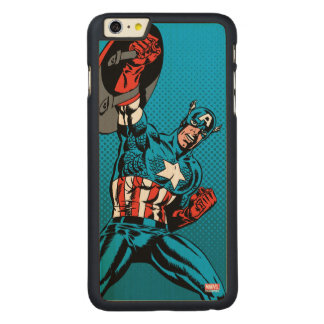 Captain America Shield Up Carved Maple iPhone 6 Plus Case