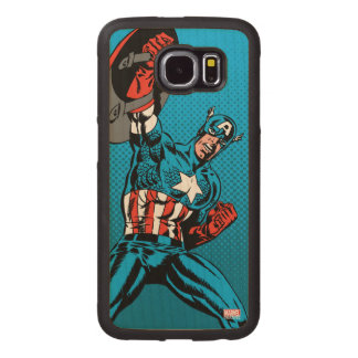 Captain America Shield Up Wood Phone Case