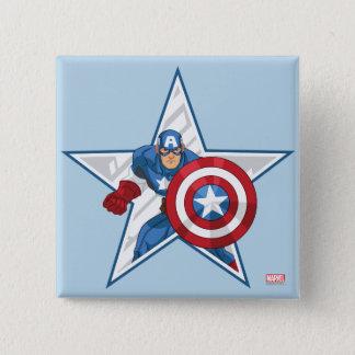 Captain America Star Graphic 15 Cm Square Badge
