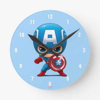 Captain America Stylized Art Round Clock