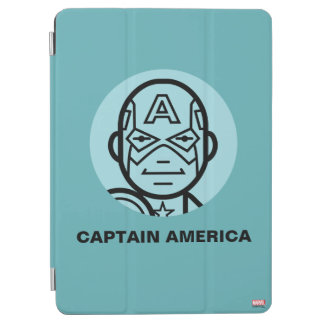 Captain America Stylized Line Art Icon iPad Air Cover