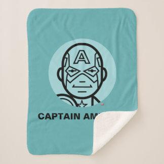 Captain America Stylized Line Art Icon Sherpa Blanket