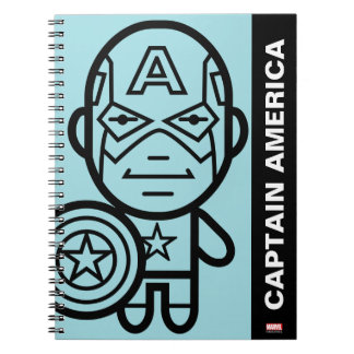 Captain America Stylized Line Art Note Book