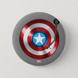 Captain America Vinyl Record Player 6 Cm Round Badge