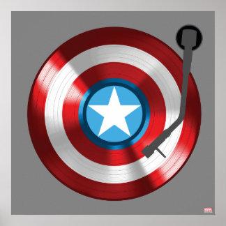Captain America Vinyl Record Player Poster