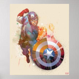 Captain America Watercolor Graphic Poster