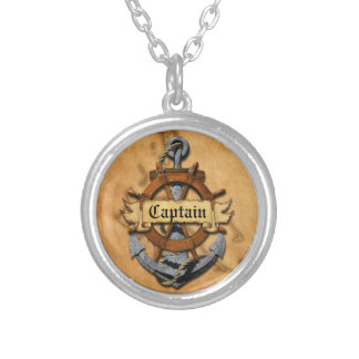 Captain Anchor And Wheel Silver Plated Necklace