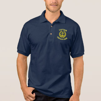 Captain and boat name with anchor polo shirt