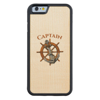 Captain And Nautical Anchor Carved Maple iPhone 6 Bumper Case