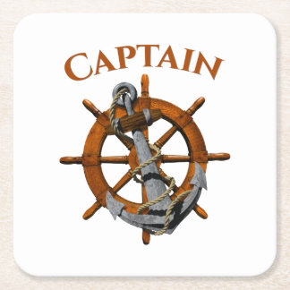 Captain And Nautical Anchor Square Paper Coaster