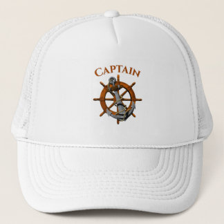 Captain And Nautical Anchor Trucker Hat