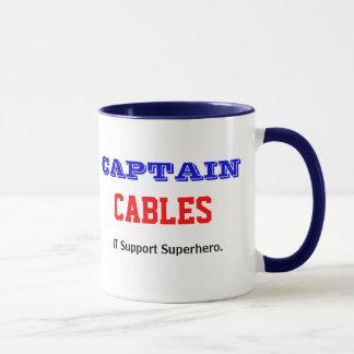Captain Cables IT Support Superhero Joke Mug