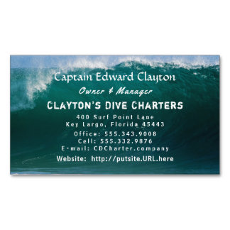 Captain Charter Big Wave Magnetic Business Card