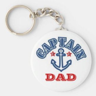 CAPTAIN DAD BASIC ROUND BUTTON KEY RING