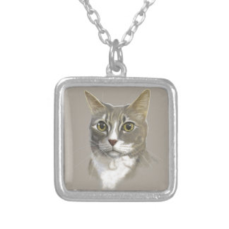 Captain domestic short hair cat silver plated necklace