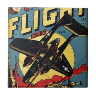 Captain Flight Vintage Golden Age Comic Book Ceramic Tile
