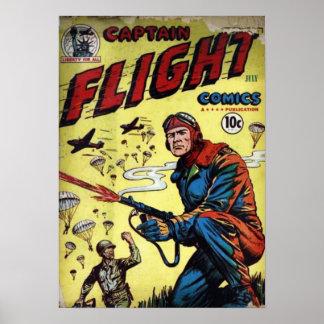Captain Flight Vintage Golden Age Comic Book Poster