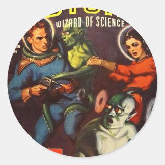Captain Future and Solar Doom. Classic Round Sticker