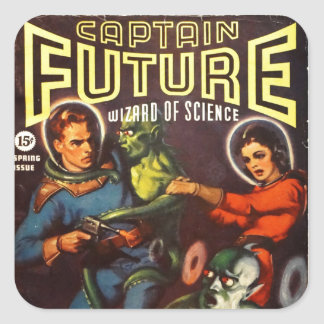 Captain Future and Solar Doom. Square Sticker