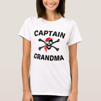 Captain Grandma Skull And Crossbones Pirate T-Shirt