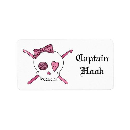 Captain Hook -Crochet Skull (Hair Bow) Label
