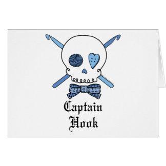 Captain Hook Skull & Crochet Hooks (Blue) Card