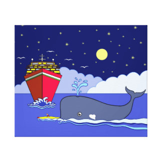 Captain Kayak Saved by Whale Canvas Print