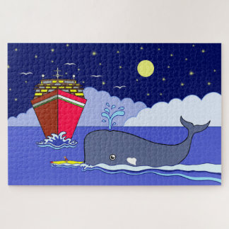 Captain Kayak Saved by Whale Jigsaw Puzzle