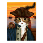 Captain Leo, Pirate Cat & Rat Fantasy Art Postcard