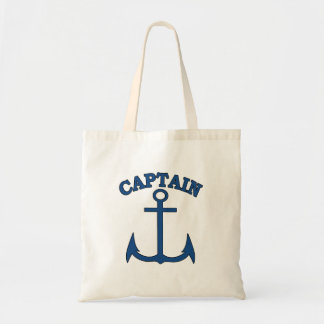 Captain Light Blue Anchor Canvas Tote Bag