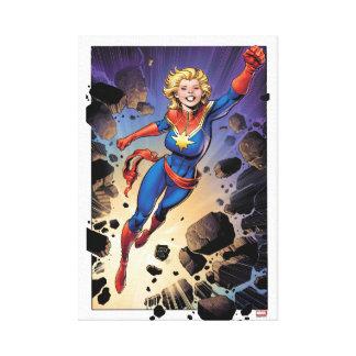 Captain Marvel Breaking Through Wall Canvas Print
