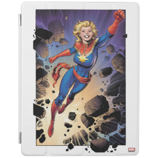 Captain Marvel Breaking Through Wall iPad Cover