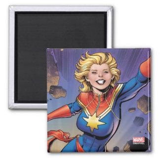 Captain Marvel Breaking Through Wall Magnet