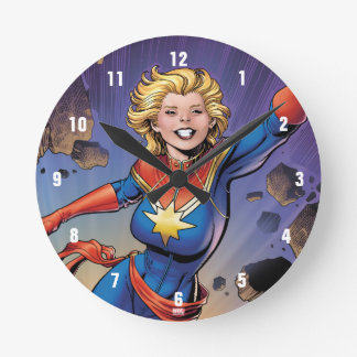 Captain Marvel Breaking Through Wall Round Clock