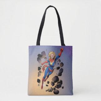 Captain Marvel Breaking Through Wall Tote Bag